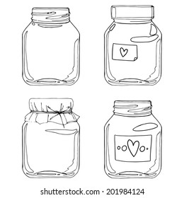 Set jars for jam, empty cans, cover, packaging, a black contour on a white background, Vector decoration elements
