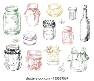 Set jars of jam in vector