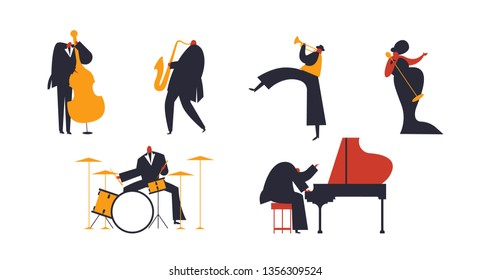 Set of jazz band people playing diverse music instruments and singer. Includes drum, saxophone, trumpet, piano player