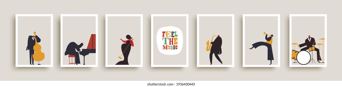 Set of jazz band people playing diverse music instruments and singer. Musical poster illustration collection. Includes drum, saxophone, trumpet, piano player