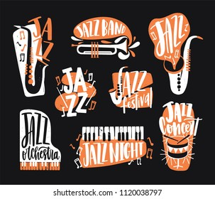 Set of jazz music lettering handwritten with calligraphic font and decorated with various musical instruments isolated on black background - piano, drums, sax, trumpet. Creative vector illustration