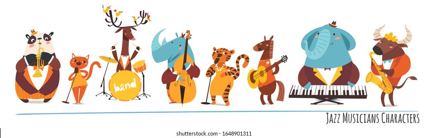 Set of jazz musicians of different animals playing musical instruments and singing. Jazz musicians characters
