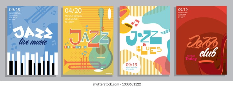 Set of Jazz posters with lettering style, music instruments and illustrations. Blues. Vector