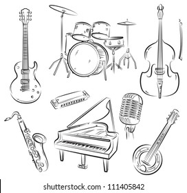 Set of jazz and rock'n'roll band musical equipment
