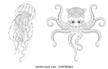Set of jellyfish and octopus for coloring book page for anti stress and print on product. .Freehand drawing. Vector illustration.