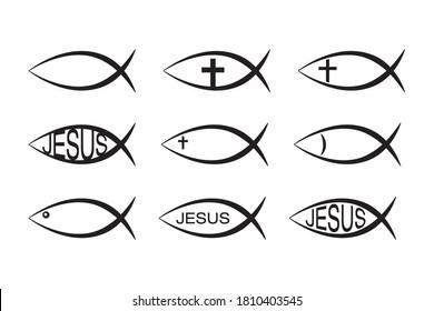 Set of Jesus Fish icons, Christian Ichthys Fish symbol icon