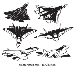 Set of jet fighter. Collection of silhouettes of various military airplane. Black and white illustration of aircraft.