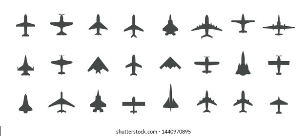 Set of jet plane, top view icons. Black silhouette airplanes, jets, airliners and retro planes. Isolated vector illustration.