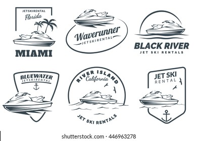 Set of Jet Ski rental logo, badges and emblems isolated on white background. Watercraft transport logo.