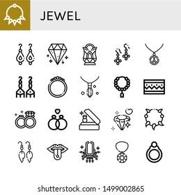 Set of jewel icons such as Necklace, Earrings, Diamond, Crystal, Bracelet, Bead, Wedding rings, Wedding ring, Piercing, Gem, Ring , jewel