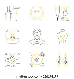 Set of jeweler profession linear icons. Vector concept of jewelry, handmade accessories, fashion. luxury items. Modern thin line style.