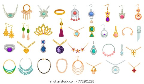 Set of jewelry colorful icons isolated. Pendants and earrings, rings and necklace vector illustration