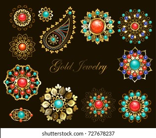 Set of jewelry ethnic Brooches adorned with jasper, turquoise and lapis lazuli.