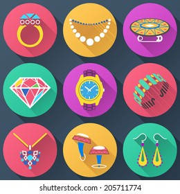 Set of jewelry flat icons. Collection of color icons for luxury industry. Qualitative vector (EPS-10) symbols about jewellery, accessories, fashion, luxury, precious metal wares, etc