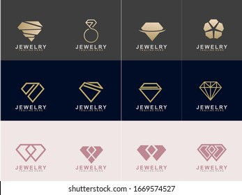 Set of Jewelry logo abstract design with creative design. Diamond icon vector illustration. Eps10