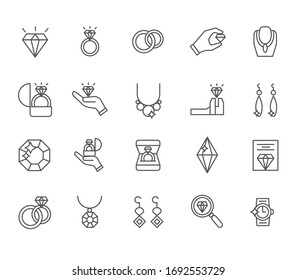 Set of jewelry Related Vector Line Icons. Includes such Icons as ring, bracelet, earrings, diamond, necklace and more.
