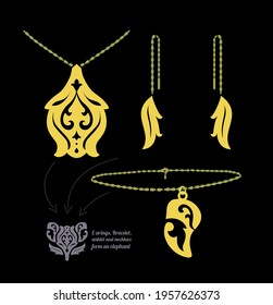 A set of jewelry that will be like an elephant together  Bracelets, necklaces, earrings, anklet
