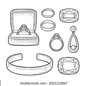 Set jewelry. Wedding ring with diamond in a gift box, earring with pearl, bracelet, emerald and ruby gem stone. Vintage color vector engraving illustration isolated on white background