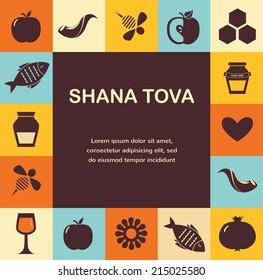 set of Jewish new year icons, Happy Shana Tova. Happy New Year in Hebrew