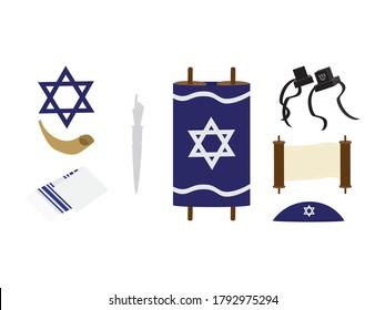 Set of Jewish symbols - Torah scroll, star of David, Tefillin, kipah, Tallit, Shofar and Torah hand on White background