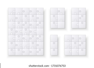 Set of jigsaw puzzle templates. Many puzzle pieces isolated on a white background. Vector illustration