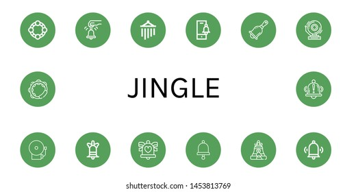 Set of jingle icons such as Tambourine, Bell, Wind chimes, Handbell, School bell, Wedding bells , jingle