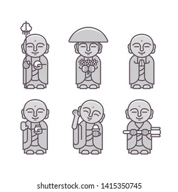 Set of Jizo Statue, Japanese Buddha Statue