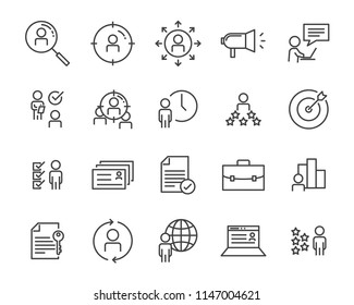 set of job hunting line icon, such as job interview, career path