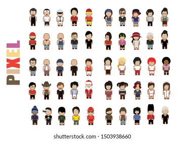 Set of job people pixel cheacter with male and female; vector illustration