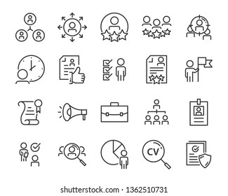 set of job search icons ,such as work, career, training, business, skill, meeting, people