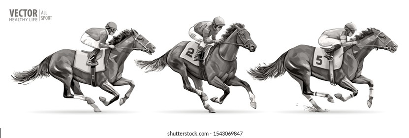 Set. Jockeys on racing horses. Sport. Champion. Hippodrome. Racetrack. Equestrian. Derby. Speed. Isolated on white background. Vector illustration