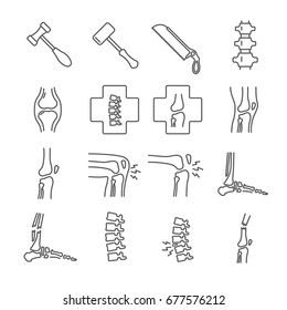 Set of joints Related Vector Line Icons. Includes such icons as disease, pain, dislocation, fracture, bones, knee, spine, foot