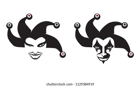 Set of jokers head. Jesters. Buffoons. For your design, vector illustration