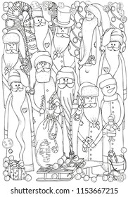 Set of jolly Santa  and snowmen. Winter, snow, sled, snow, trees, hats, buttons. Merry Christmas, Happy New Year. Pattern for coloring book. Black and white.