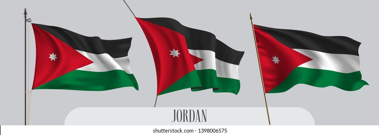 Set of Jordan waving flag on isolated background vector illustration. 3 red white green Jordanian wavy realistic flag as a patriotic symbol