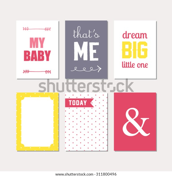 Set Journaling Cards Newborn Baby Girl Stock Vector (Royalty Free