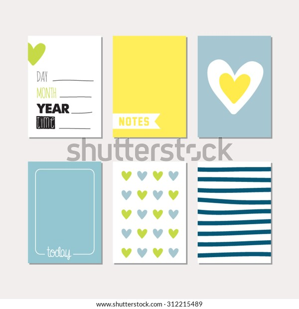 Set Journaling Cards Newborn Baby Boy Stock Vector Royalty