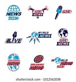 Set of journalism conceptual logo, emblems and leaflets. Earth planet, microphones and loudspeakers equipment vector illustrations composed with news inscription.