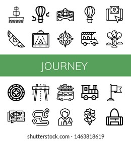 Set of journey icons such as Galleon, Flying, Hot air balloon, Gps, Rialto bridge, Compass, Safari, Balloons, Windrose, Guide, Highway, Route, Camper van, Tour guide , journey