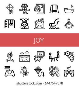 Set of joy icons such as Kite, Monkey bars, Swing, Joker, Smile, Waterpark, Baby tub, Regional dance, Clown, Controller, Banana boat, Scare, Videogame, Seesaw, Game controller , joy