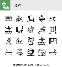 Set of joy icons such as Kite, Joystick, Water slide, Swing, Spinning top, Seesaw, Waterpark, Laughing, Clown, Sand bucket, Monkey bars, Scare, Round up ride, Water park , joy
