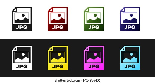 Set JPG file document icon. Download image button icon isolated on black and white background. JPG file symbol. Vector Illustration