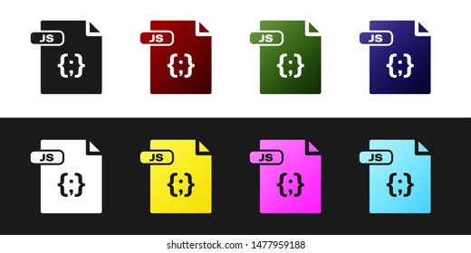 Set JS file document. Download js button icon isolated on black and white background. JS file symbol.  Vector Illustration