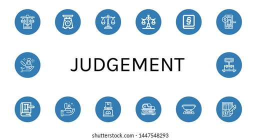 Set of judgement icons such as Balance, Scale, Law, Auction, Proposal , judgement