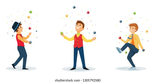 Set of jugglers perform a circus trick. Artist jugging rings,maces and balls.Circus performer.Vector illustration. Cartoon flat style.