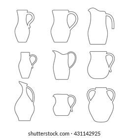 Set of jugs. Pitcher outline. Vector illustration
