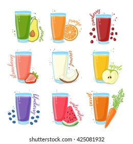 Set juices from fruits and vegetables. Collection of illustrations of drinks for a healthy diet. Juice from the berries, fruits and vegetables for vegetarians. Doodle cute style. Vector.