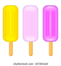 Set of juicy mouthwatering ice cream on a stick colors vector