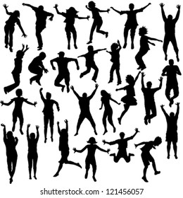 Set of jumping children silhouettes
