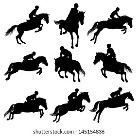 Set of a jumping horse with rider sulhouettes
